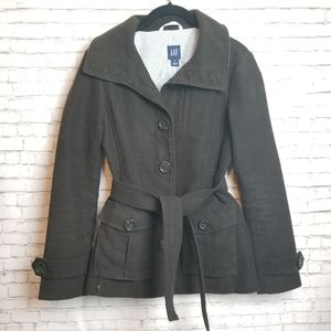 GAP brown belted button front coat